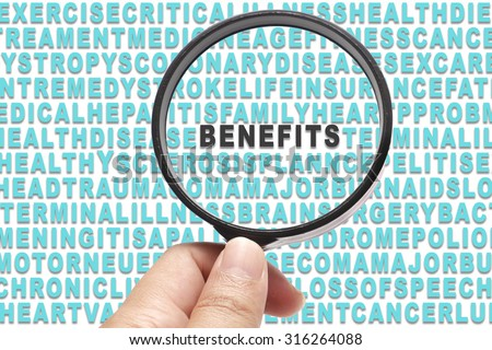 Health Insurance conceptual focusing on Benefits - stock photo