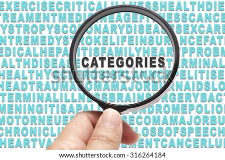 Health Insurance conceptual focusing on Categories - stock photo