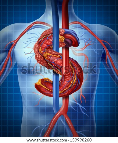 Health insurance costs and medical expenses concept with a human heart in the shape of a money or dollar symbol as a metaphor for the rising price of financial burdens as a business concept. - stock photo