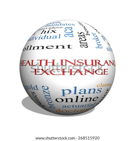 Health Insurance Exchange 3D sphere Word Cloud Concept with great terms such as silver, plans, levels, subsidies and more.