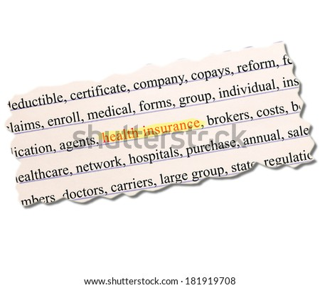 Health Insurance highlighted on Paper Word Concept with great terms such as brokers, medical, group and more written on a torn piece of lined pink paper. - stock photo