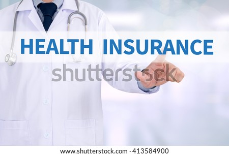 HEALTH INSURANCE  Medicine doctor working with computer interface as medical - stock photo