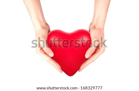 Health insurance or love concept isolated with hand and heart