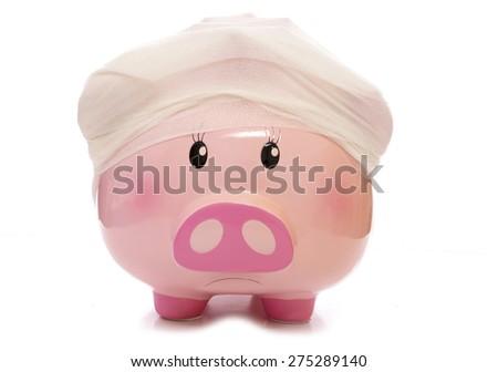 Health insurance piggy bank cutout - stock photo