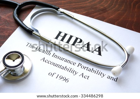 Health Insurance Portability and accountability act HIPAA and stethoscope. - stock photo