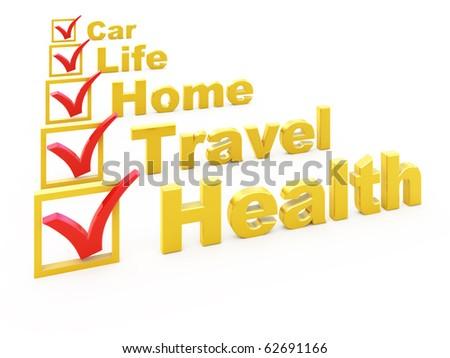 Health Insurance, Travel Insurance, Home Insurance, Life Insurance, Car Insurance checklist - stock photo