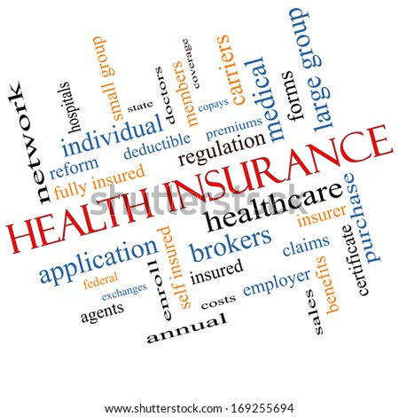 Health Insurance Word Cloud Concept Angled with great terms such as healthcare, reform, enroll, claims and more. - stock photo