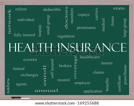 Health Insurance Word Cloud Concept on a Blackboard with great terms such as healthcare, reform, enroll, claims and more. - stock photo