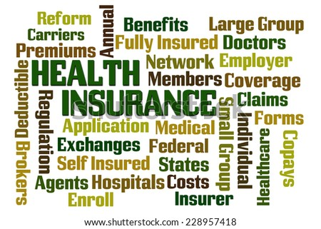 Health Insurance word cloud on white background - stock photo