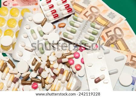 health medications money - stock photo
