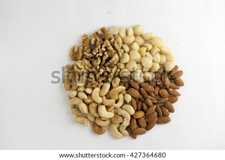 Health of macadamia nuts, walnuts, cashews and almonds wrapped in white background - stock photo