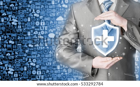 Health protection and insurance. Medical healthcare. Business in health safety. Icons background. Communication.