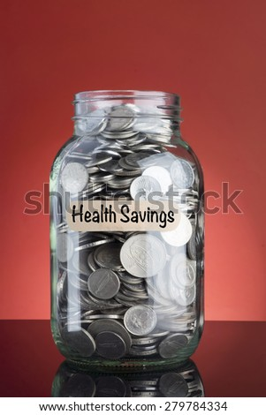 Health Savings concepts with coins in jar