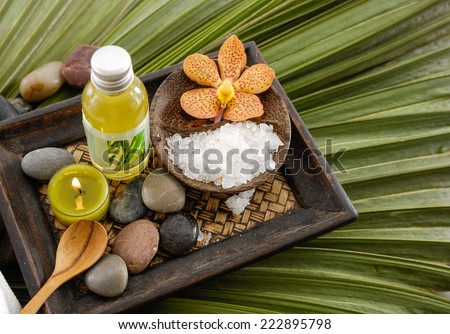Health spa and palm leaf texture - stock photo