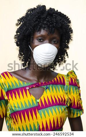 Health Symbol: Black Nurse (Doctor) Curing Ebola Africa - stock photo
