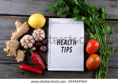 Health Tips, health conceptual - stock photo