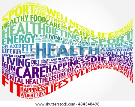 Health word cloud background, health concept