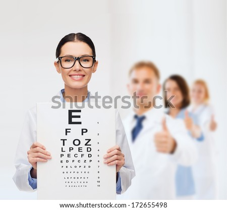 healthcare, advertisement and medicine concept - smiling female doctor in eyeglasses with eye chart - stock photo