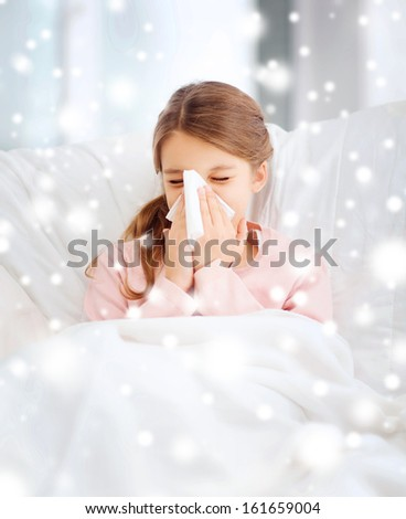 healthcare and medicine concept - ill girl with paper tissue - stock photo