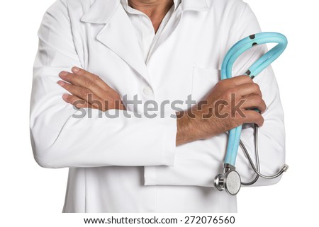 healthcare and medicine concept - male doctor with stethoscope - stock photo