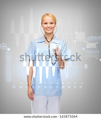 healthcare and medicine concept - smiling female doctor or nurse with stethoscope and cardiogram - stock photo