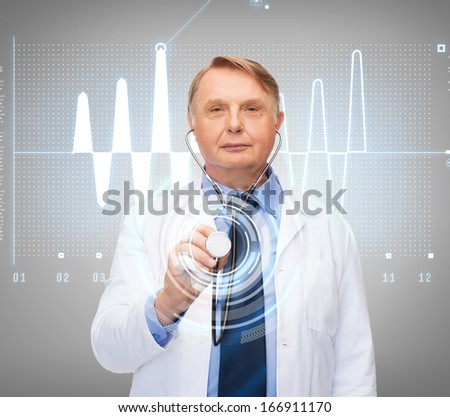 healthcare and medicine concept - smiling standing doctor or professor with stethoscope and cardiogram