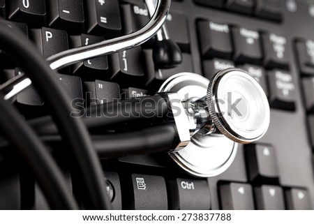 Healthcare And Medicine, Stethoscope, Computer.