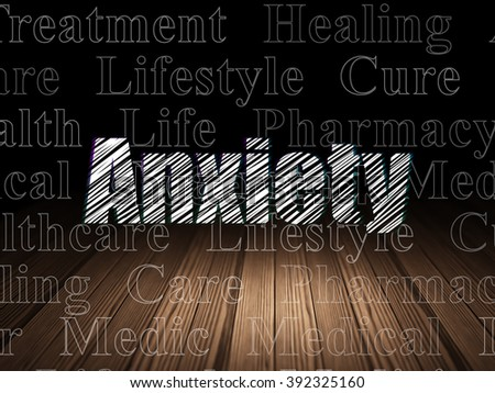 Healthcare concept: Anxiety in grunge dark room - stock photo