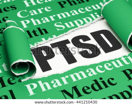 Healthcare concept: black text PTSD under the curled piece of Green torn paper with  Tag Cloud, 3D rendering