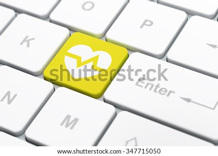 Healthcare concept: computer keyboard with Heart icon on enter button background, selected focus, 3d render - stock photo
