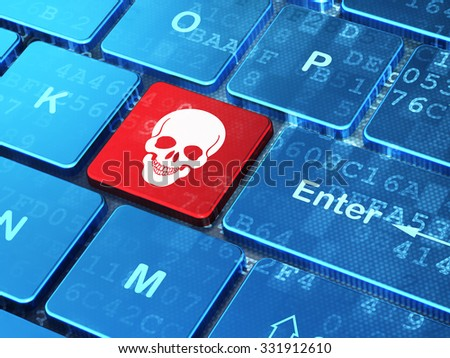 Healthcare concept: computer keyboard with Scull icon on enter button background, 3d render - stock photo