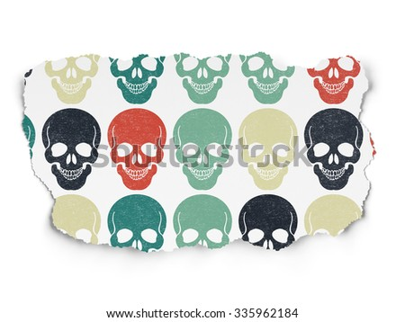 Healthcare concept: Painted multicolor Scull icons on Torn Paper background