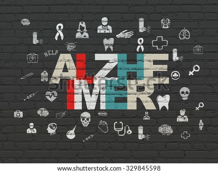Healthcare concept: Painted multicolor text Alzheimer on Black Brick wall background with  Hand Drawn Medicine Icons - stock photo