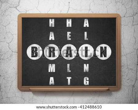 Healthcare concept: Painted White word Brain in solving Crossword Puzzle on School board background, 3D Rendering - stock photo