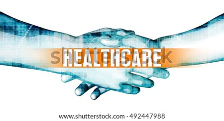 Healthcare Concept with Businessmen Handshake on White Background 3D Illustration Render