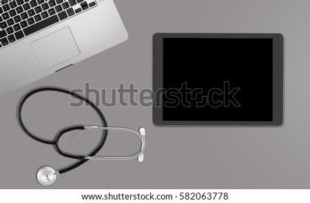 Healthcare concept with clean desk with medical and healthcare equipment with copyspace for message or text