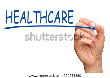 Healthcare - female hand with blue pen on white background - stock photo