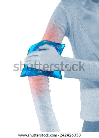 Healthcare, fitness and medicine -  woman with pain in elbow - stock photo