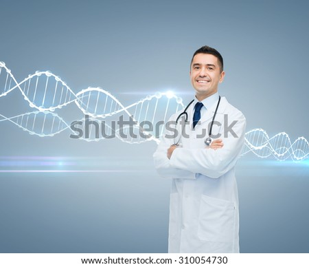healthcare, genetics, people and medicine concept - smiling male doctor in white coat and dna molecule formula over gray background - stock photo