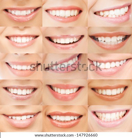 healthcare, medical and stomatology concept - examples of female smiles