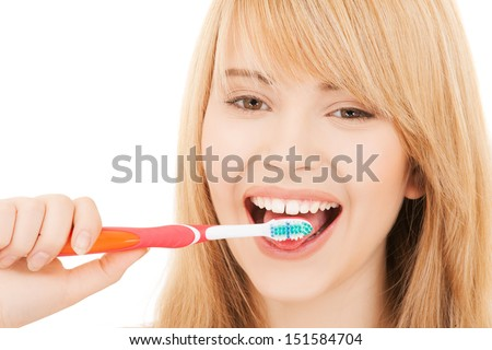 healthcare, medical and stomatology concept - teenage girl with toothbrush - stock photo