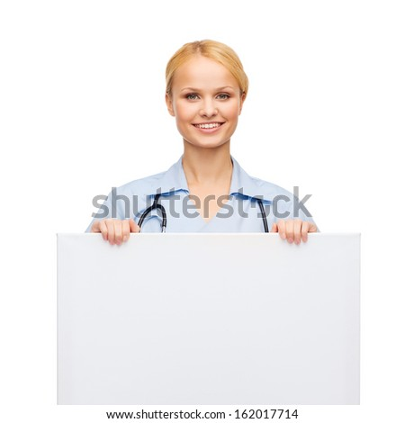 healthcare, medicine, advertisement and sale concept - smiling female doctor or nurse with stethoscope and white blank board