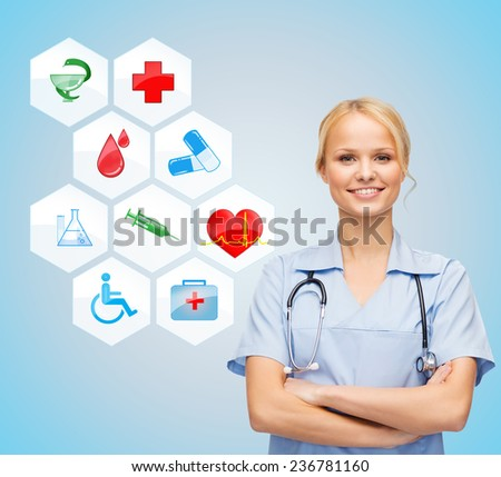 healthcare, medicine, people and symbols concept - smiling young female doctor or nurse over medical icons and blue background - stock photo