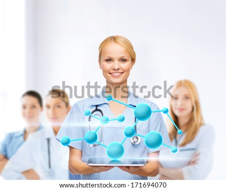 healthcare, medicine,research, science, chemistry and technology concept - smiling female doctor or nurse with tablet pc computer - stock photo