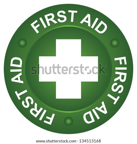Healthcare or Medical Sign For First Aid Sign Present By White Cross and First Aid Text Around With Green Circle Icon Isolated on White Background - stock photo