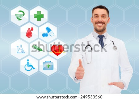 healthcare, profession, symbols, people and medicine concept - smiling male doctor with stethoscope in white coat over blue background with medical icons - stock photo