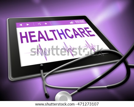 Healthcare Tablet Indicating Healthy Wellbeing 3d Illustration