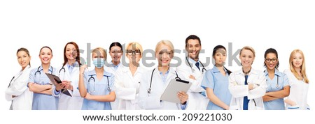 healthcare, technology and medicine concept - smiling female and male doctors and nurses with tablet pc computer