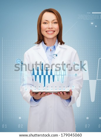 healthcare, technology and medicine concept - smiling female doctor and tablet pc computer - stock photo