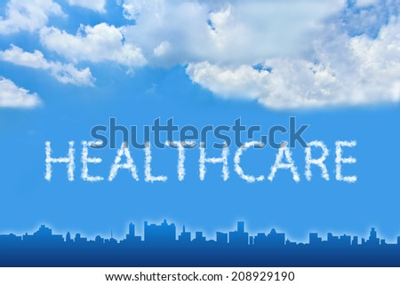 Healthcare text on cloud with blue sky - stock photo